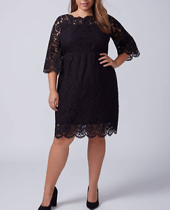 687319a4785 LANE BRYANT WOMEN S BLACK SCALLOP EDGE FIT   FLARE LINED LACE DRESS ...