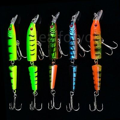 Lot Double Section Bionic Fishing Lure Crank Bait Tackle Bass Durable Hook L3Y4