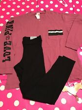 New Victoria's Secret Pink Campus Crew Top Leggings Begonias Outfit Med Set 2pc
