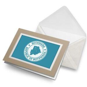 Greetings-Card-Biege-Repubblica-Of-Botswana-Map-Travel-9297