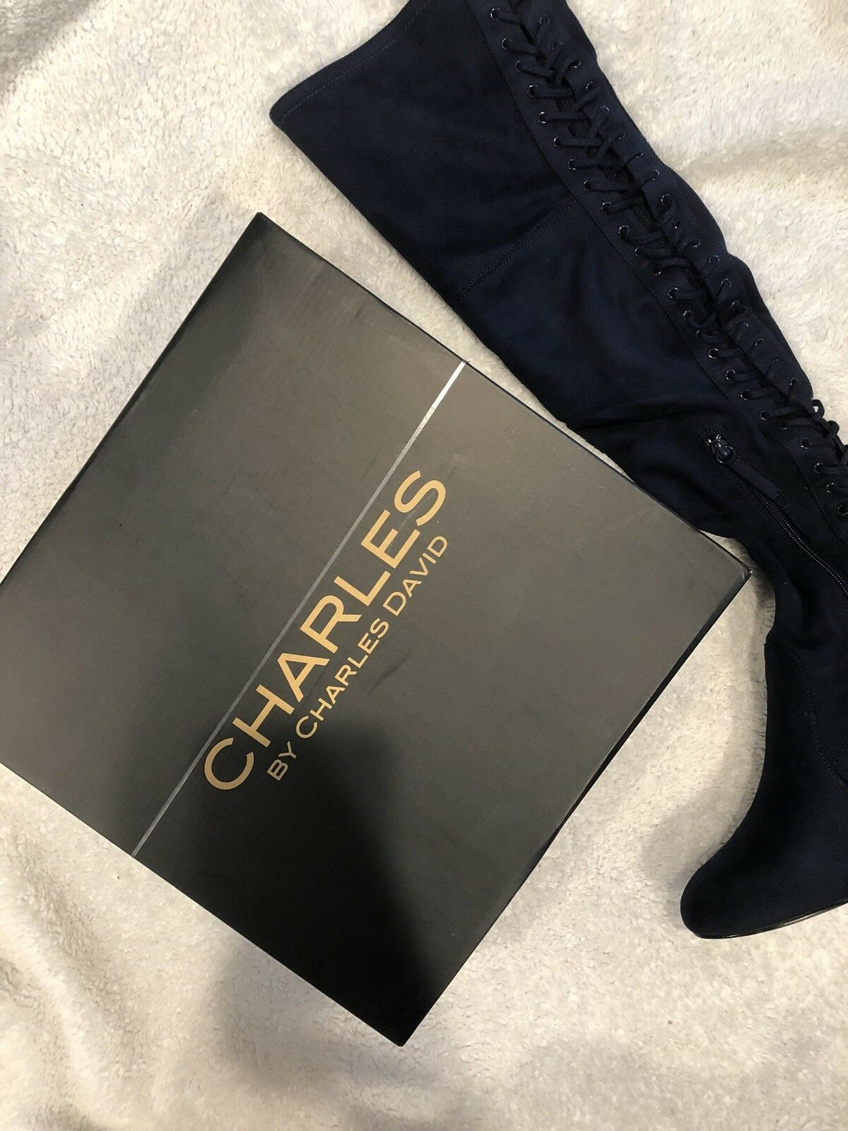 New CHARLES By CHARLES DAVID Ollie Over The Knee Boots Lace Suede Navy 8M  159