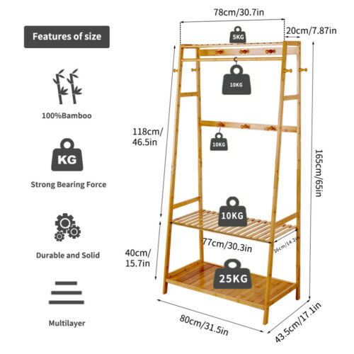 Wooden Clothes Rail Hanging Foldable Garment Rack Stand Shoe Storage Shelf