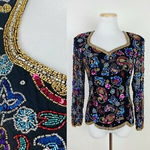FLAWS-VTG-90s-Heavily-Sequined-Blouse-S-Beaded-Paisley-Floral-NYE-Glam-Party