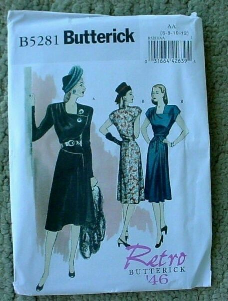 BUTTERICK PATTERN DRESS RETRO 1946 SEMI FITTED LINED 3 DESIGNS SIZE 6-12 # B5281