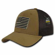 Coyote USA US American Flag Tactical Operator Mesh Flex Fit Baseball Hat Cap