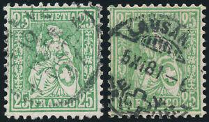 SCHWEIZ-1881-MiNr-41-a-und-41-b-sauber-gestempelt-Mi-220