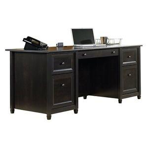 Sauder Edge Water Executive Desk Estate Black Ebay