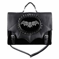 Restyle Magic Bat Embroidered Occult Symbol Witch Gothic Black Satchel Bag