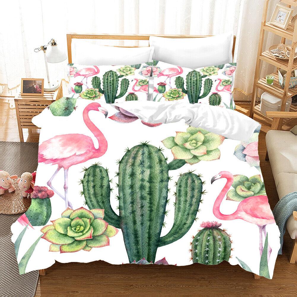 3D Flamingo Cactus Quilt Cover Set Bedding Duvet Cover Single Queen King 54