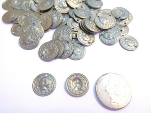 One Hole 72 LOT Vintage Dark Silvertone Metal Coin Style Jewelry Findings