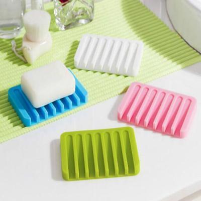 Flexible Bathroom Silicone Soap Dish Storage Holder Soapbox Plate Tray Drain FW