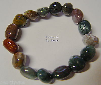 FANCY JASPER TUMBLED STONES BRACELET Wicca Witch Reiki  Pagan Goth