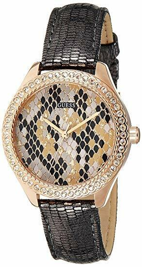 Guess W0626L2  Leather Reptile Print Women's Watch Crystals Rose Gold Grey