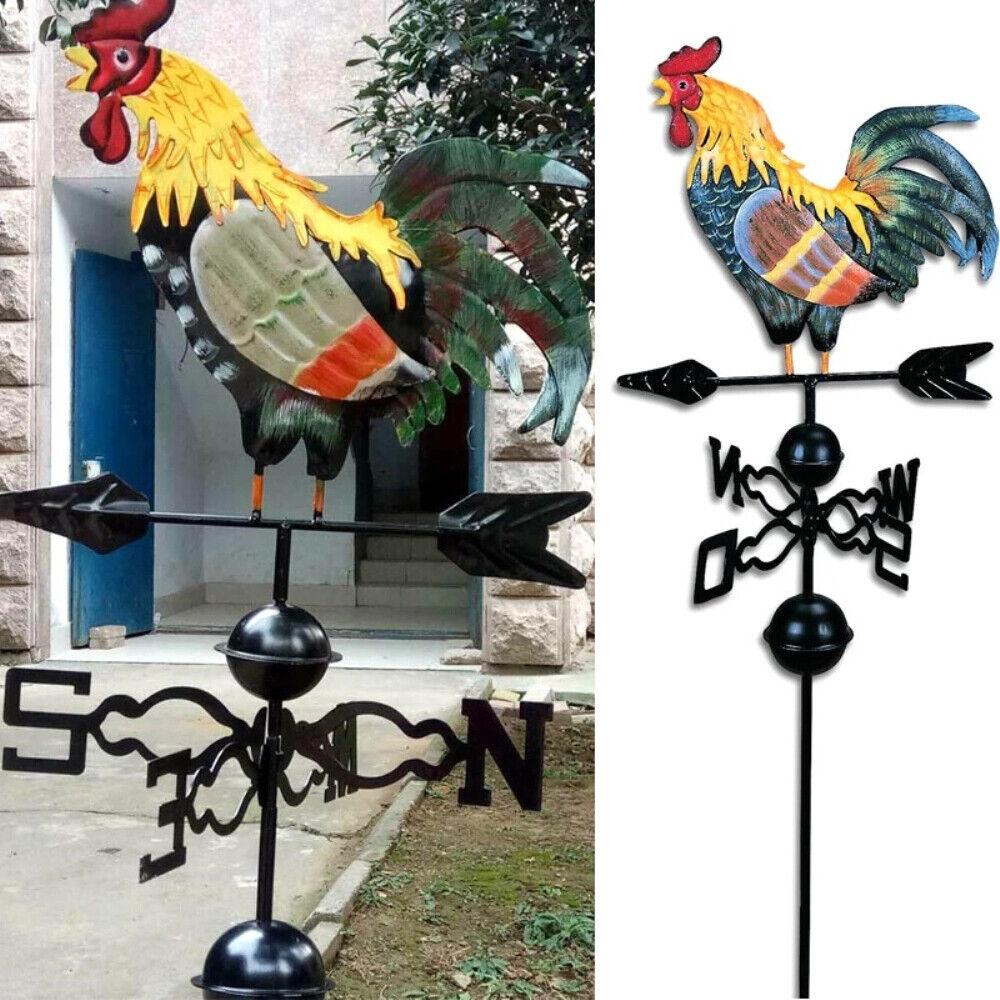 Metal Weather Vane Rooster Ornament Garden Patio Roof Wind Direction Weathervane