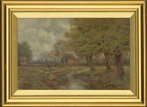 W-Brandreth-Signed-amp-Framed-1907-Oil-The-Grazing-Sheep