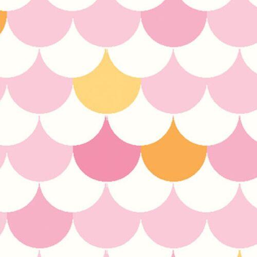 Fabric Pink Yellow Mini Scallops on White Cotton 1//4 Yards