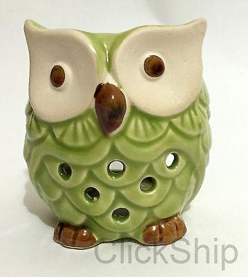 Ceramic Green Owl Burner Warmer Essential Oil Incense 7cm (D)