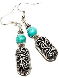 Turquoise-Bead-Earrings-Tibetan-Silver-Filigree-Style-Pierced-Hooks-Drop-Dangle
