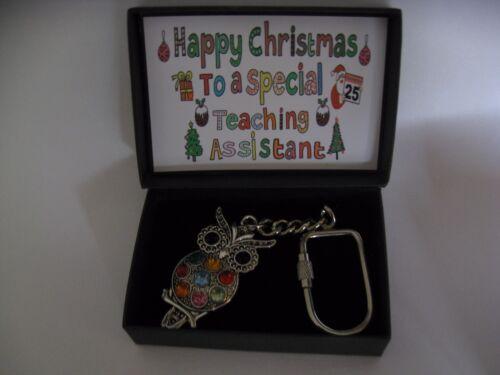 Teaching Assistant  Christmas Gift Rhinestone  Owl Screw Keychain *Boxed Gift *