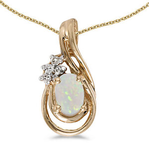"""10k Yellow Gold Oval Opal And Diamond Teardrop Pendant with 16"""" Chain"""