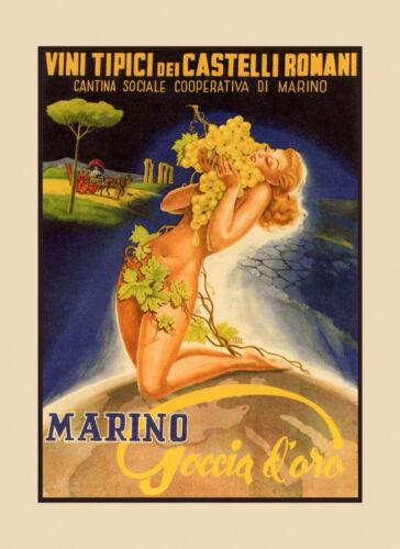Marino Goccia D'oro Wine Bar Italy Lady Grapes Poster Repro FREE SH in USA