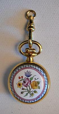 Halcyon Days English Enamels Floral Ladies Quartz Pocket Watch