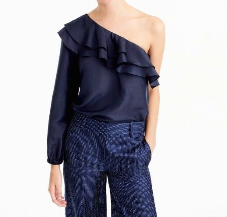 New J Crew One-shoulder Silk Shantung Top Vintage Indigo Sz 10 H1200