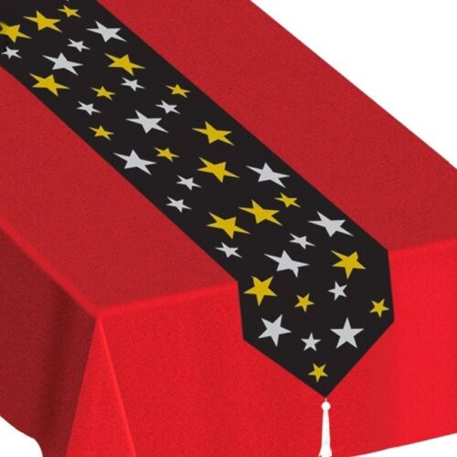 Gold /& Silver Stars Table Runner 1.8m Hollywood Party Tableware Decorations