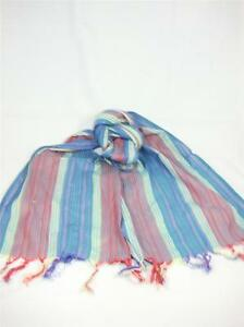 Glentex-Oblong-scarf-Neck-Head-wrap-cotton-red-blue-pink-navy-stripes-New