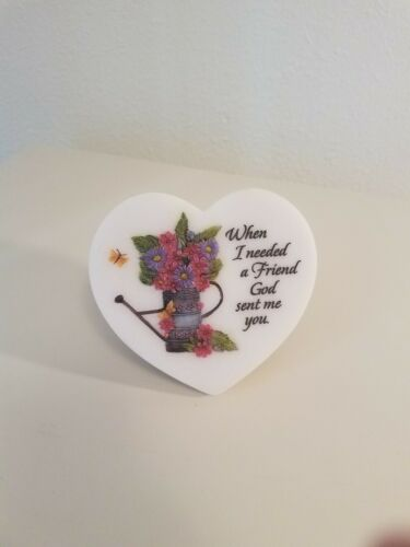 Details about Porcelain Heart Friendship Sign When I Needed A ...