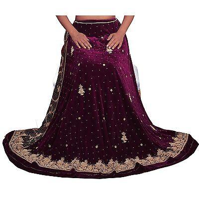 Vintage Hand Beaded Lehenga Velvet Skirt Wedding Unstitched Free size Zardozi