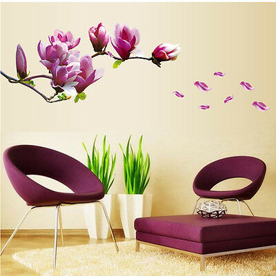 Lovely Cherry Blossom Flower Wall Sticker Butterfly Removable Home Decor