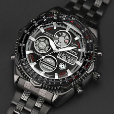 016 Infantry Aviator Analog LCD Digital Mens Sport Wrist Watch Stainless Steel