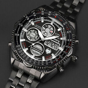 INFANTRY-Mens-Digital-Quartz-Wrist-Watch-Sport-Chronograph-Black-Stainless-Steel