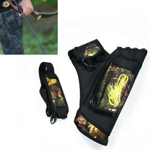 Hunting-Archery-Arrow-Holder-4-Tube-Bag-Back-Side-Waist-Quiver-Camo-Black-BU