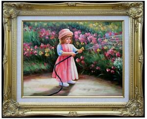 Framed-Quality-Hand-Painted-Oil-Painting-Girl-Watering-Flowers-12x16in
