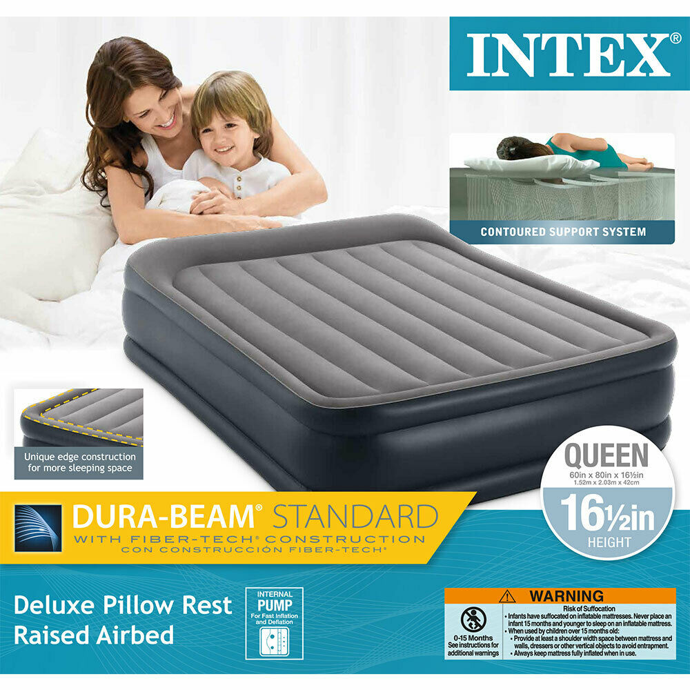 Twin Intex Dura Beam Standard Deluxe Pillow Rest Raised Airbed w// Built in Pump