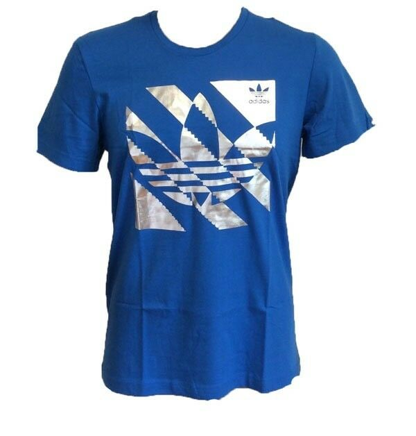 Adidas Originals Trefoil Blue And Silver Mens Inversion T Shirt With