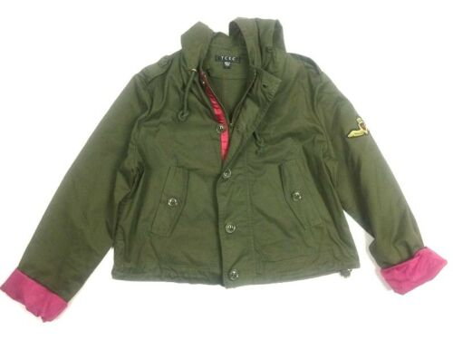 Large contrasto cappuccio Jacket C1p Cappotto Sleeve Patch Green Tcec con Army polsino OfUxzd