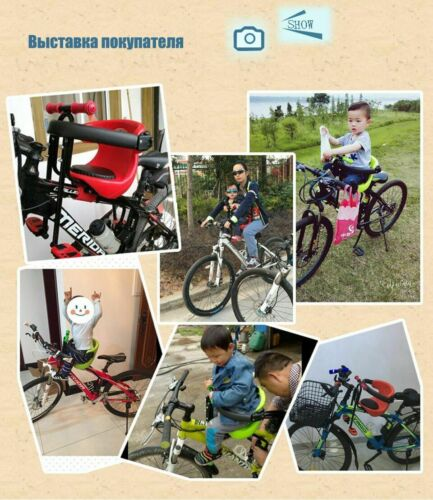 Child Safety Carrier Bicycle Front Seat Saddle Cushion With Back Rest Foot Pedal