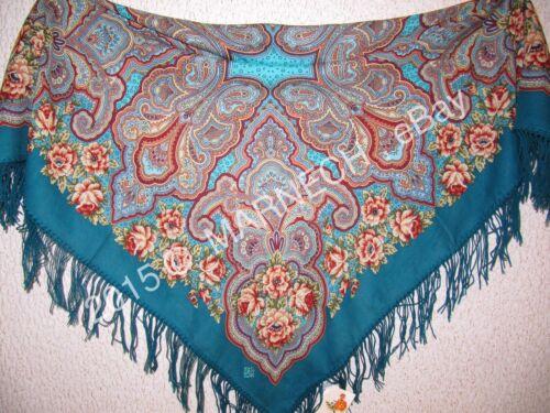 1559-12 Woolen Merino Floral scarf Shawl Warm wrap kerchief Russian Pavlov Posad