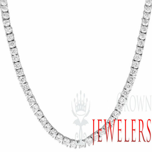 14k White Gold Finish Solitaire 1 Row Tennis Necklace Round Cut Lab Diamonds