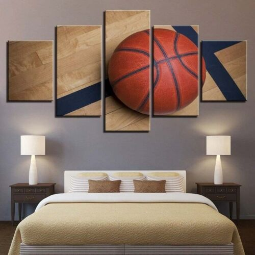 Basketball Painting 5pc Canvas Print Motivation Poster Wall Art Gift Sport Decor