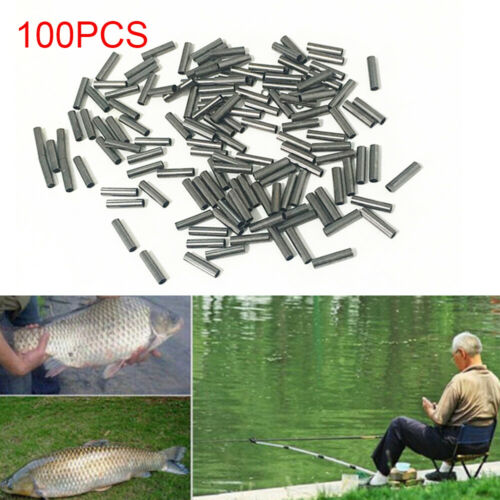 100PCS Single Copper Fishing Crimp Sleeves Tube Wire Leader Sleeve 1.0-3.0MM