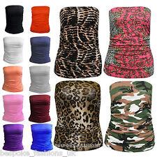 H7AB Women Ladies Ruched Bandeau Boob Tube Vest Crop Bra Top Plus & Normal Sizes