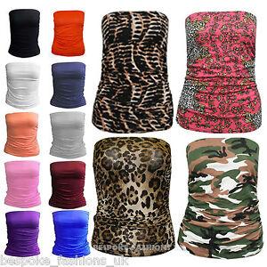 H7AB-Women-Ladies-Ruched-Bandeau-Boob-Tube-Vest-Crop-Bra-Top-Plus-Normal-Sizes