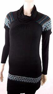 Tunika-Kleid-Long-Pullover-Norweger-Muster-Kurzarm-Schwarz-Rollkragen-36-38-40