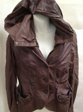 Donna Karan 10 Brown Hooded Jacket Spanish Lamb Skin Leather Made in Italy
