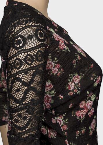 Ladies Black Floral /& Lace Top Jumper BNWT