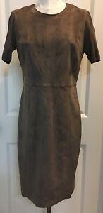 7facc9ec8b43 Elie Tahari Horizon Grey Emily 100% Lamb Suede & Knit Sheath Dress ...